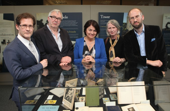 Prof. Daniel Carey, Ronnie O'Gorman, Sen. Fidelma Healy Eames, Sen. Susan O'Keeffe, and Dr. Adrian Paterson, at the launch of Yeats & the West at the Hardiman Research Building, NUI Galway, 13 July 2015. The exhibition features many talks and special events throughout its run until December 2015 and has free admission.