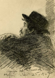 J.M.Synge at The Playboy of the Western World dress rehearsal, by John Butler Yeats