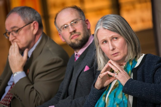Donal Tinney – Chairperson of The Model, Dr Adrian Paterson – NUI Galway and curator of the exhibition and Senator Susan O'Keeffe, at the NUI Galway Launch of Yeats & the West Exhibition at The Model, Sligo. Photo: James Connolly 24MAR16