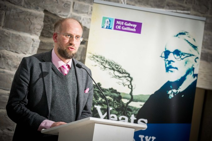 Dr Adrian Paterson – NUI Galway and curator of the exhibition, speaking at the NUI Galway Launch of Yeats & the West Exhibition at The Model, Sligo. Photo: James Connolly 24MAR16