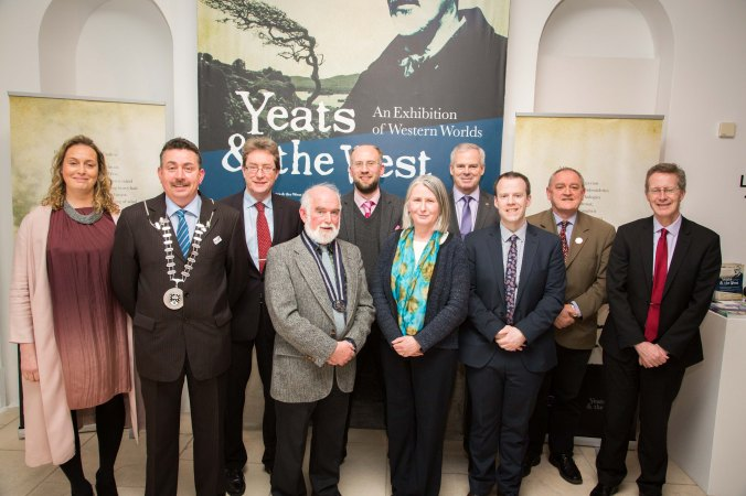 Emer McGarry, Acting Director, The Model, Cllr. Thomas Healy, Dr Jim Browne , President of NUI Galway, Martin Enright, President of Yeats Society, Sligo, Dr Adrian Paterson, NUI Galway, and curator of the exhibition, Senator Susan O'Keeffe, Ciaran Hayes, Sligo County Manager, Barry Houlihan, NUIG, Donal Tinney, Chairperson of The Model, and John Cox, NUIG, at the NUI Galway Launch of Yeats & the West Exhibition at The Model, Sligo. Photo: James Connolly 24MAR16