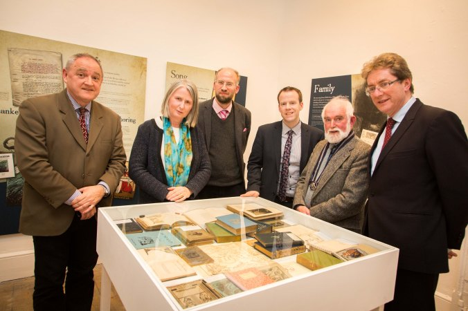 Donal Tinney, Chairperson of The Model, Senator Susan O'Keeffe, Dr Adrian Paterson, NUI Galway, and curator of the exhibition, Barry Houlihan, NUIG, Martin Enright, President of Yeats Society, Sligo, and Dr Jim Browne, President of NUI Galway, viewing some of the Yeats books on display, at the NUI Galway Launch of Yeats & the West Exhibition at The Model, Sligo. Photo: James Connolly 24MAR16