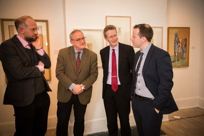Dr Adrian Paterson, NUI Galway, and curator of the exhibition, Donal Tinney, Chairperson of The Model, John Cox, NUIG, and Barry Houlihan, NUIG, at the NUI Galway Launch of Yeats & the West Exhibition at The Model, Sligo. Photo: James Connolly 24MAR16
