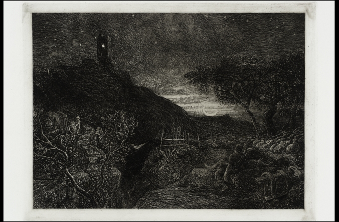 Samuel Palmer, The Lonely Tower (1879), inspiration for Yeats's 'The Phases of the Moon' and most of Yeats's tower poetry.